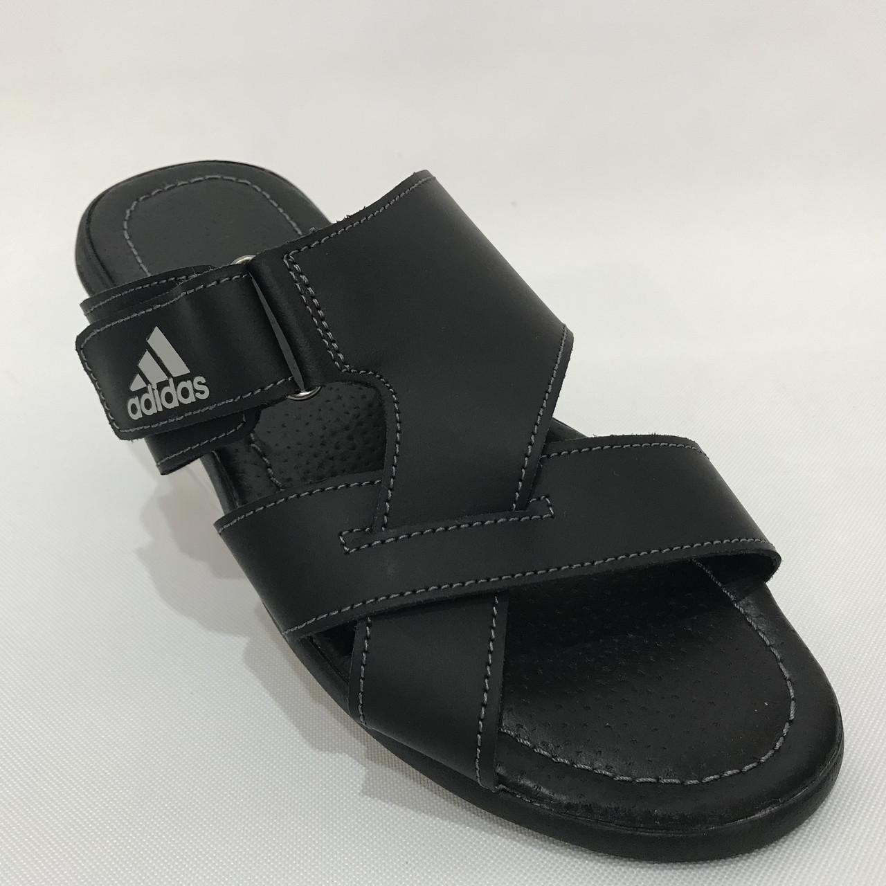 Мужские кожаные шлепки Adidas / черные 40,41 р