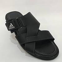 Мужские кожаные шлепки Adidas / черные 40,41 р  , фото 1