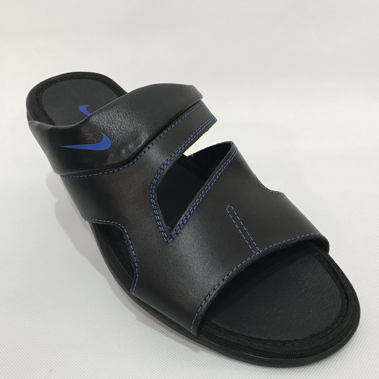 Мужские кожаные шлепки Nike / черные р. 41