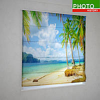Римские фотошторы  пальмы на пляже