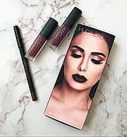 Набор huda beauty lip contour set (2 помады и карандаш)(реплика)