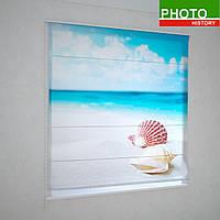 Римские фотошторы  ракушки на пляже
