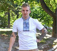 Мужская вышиванка футболка Парубоцька белая с синим орнаментом / размер 42-60