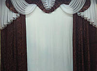 """Ламбрекен с шторами """"Дана"""" на карниз 3 м Разные цвета, фото 1"""