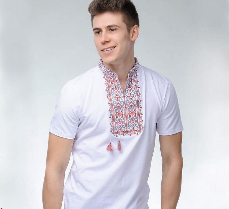 Мужская футболка вышиванка белого цвета с красным орнаментом Король Данило / размер 42-52