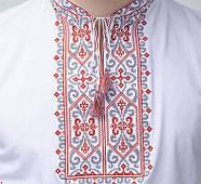 Мужская футболка вышиванка белого цвета с красным орнаментом Король Данило / размер 42-52, фото 3