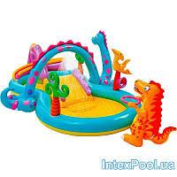 Детский надувной игровой центр-бассейн Intex «Планета динозавров», 333 х 229 х 112 см, с фонтаном , фото 1