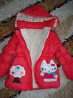 """Пальто для девочки """"Аппликация-"""" корал. (2,3 года)"""