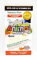 Мультивитамины для Детей, Вкус Апельсина, Animal Parade Gold, Natures Plus, 120 жевательных таблеток