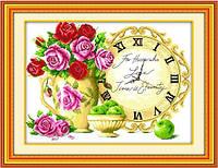 Картина по номерам для вышивки крестиком часы с цветами набор