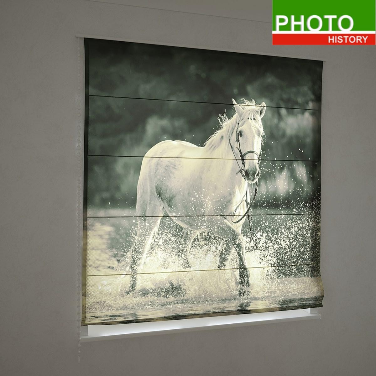 Римские фотошторы белая лошадь в воде