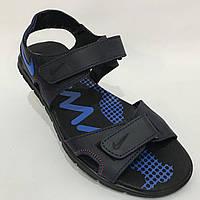 Мужские кожаные сандалии в стиле Nike / темно-синие стелька кожаная