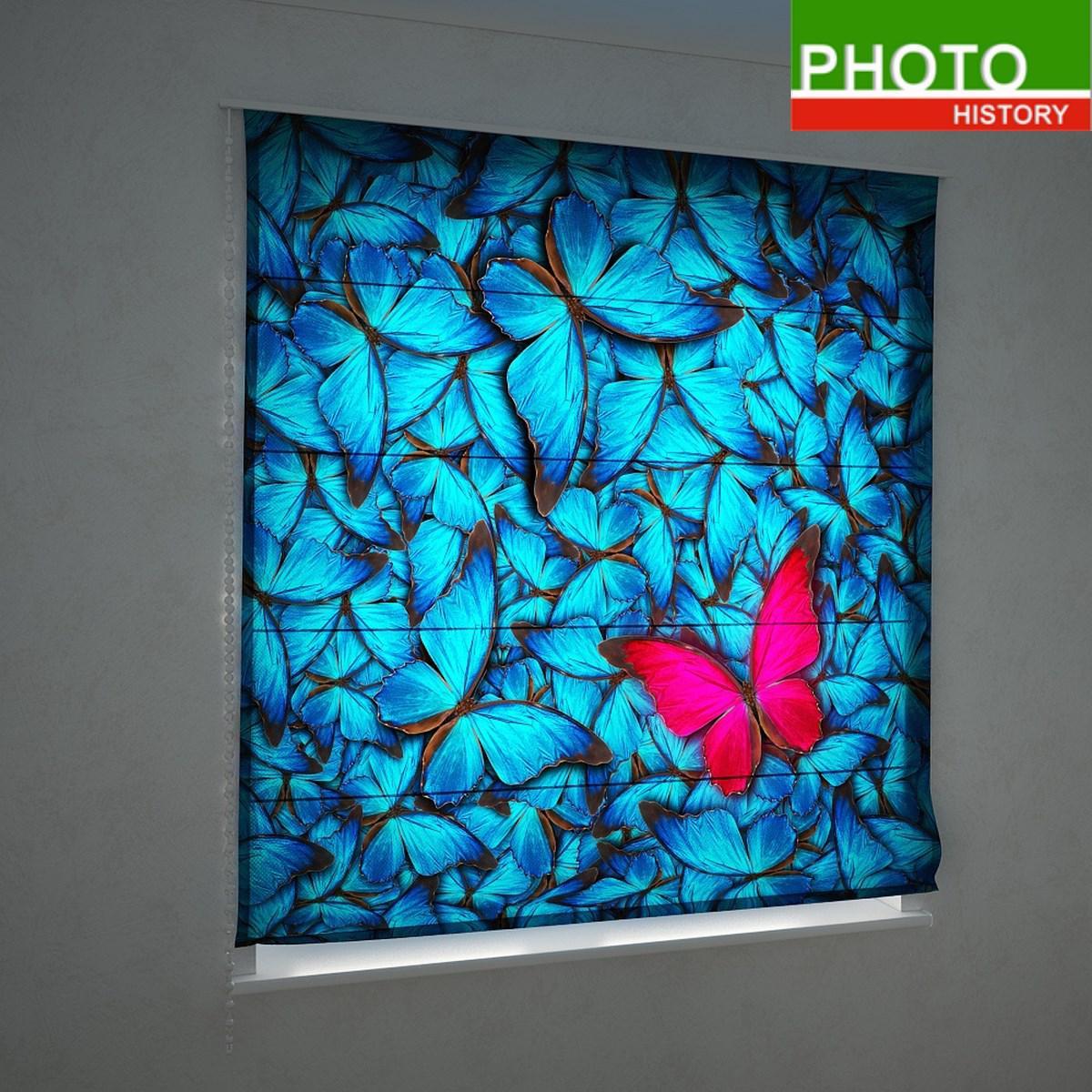 Римские фотошторы изобилие синих бабочек