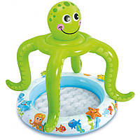 """Детский надувной бассейн Intex """"Осьминог"""" с навесом, 102 х 104 cм"""