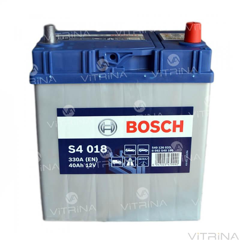 Аккумулятор BOSCH 40Ah-12v S4018 (187x127x227) с тонкими клеммами | R,EN330 (Азия)