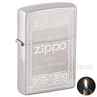 Зажигалка бензиновая Zippo 200 Brushed Chrome (Матовый хром) 200503, фото 1
