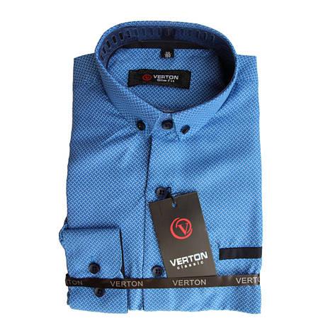 Рубашка для мальчика приталенная голубая с принтом длинный рукав трансформер Verton, фото 2