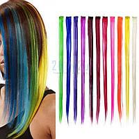 Цветные пряди искусственных волос на заколке ОДНОТОННЫЕ