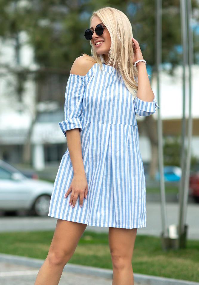 b14d05db79b Женское летнее платье в полоску голубого цвета с открытыми плечами. Модель  18089