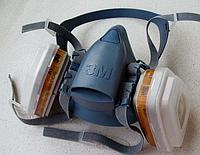 Полумаска 3М 7502 +фильтра 6057+пыльники 5911+держатели 501 ,комплект