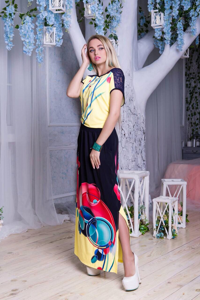 Фото-1 Длинного ботального летнего платья Ирма-10