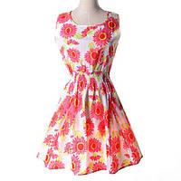 Платье сарафан летнее с узором Ромашки  Liva Girl
