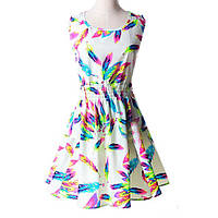 Платье сарафан летнее с  принтом Перья  Liva Girl
