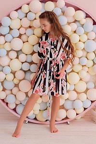 """Детская шелковая пляжная туника в полоску """"DRESS CODE"""" с цветочным принтом"""