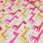 """Набор  постельного белья с бортиками и балдахином  """"для новорожденного Веселый жирафик"""" розового цвета, фото 5"""
