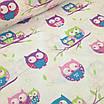 """Плед для младенца  с полосатым плюшем Minki  """"Цветные совушки"""" Голубого цвета, фото 4"""