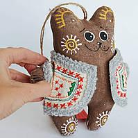 Кофейный мишка в кожушке. Новогодний сувенир.