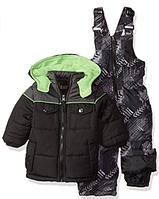 Зимний раздельный серо-черный с салатовым комбинезон iXtreme(США) для мальчика 12мес, фото 1