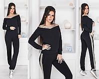 Спортивный костюм женский с лампасами (3 цвета) Черный ММ/-4171