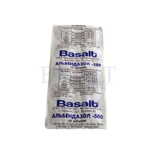 Альбендазол-500 таблетки № 10 (Базальт) ветеринарный противопаразитарный препарат