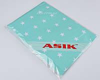 Простынь на резинке Asik мятного цвета с звёздами (5-154)