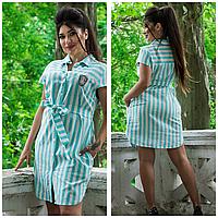 Женское платье-рубашка в полоску, фото 1