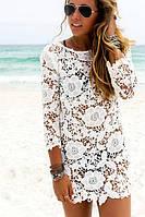 Туника пляжная белая с кружевами платье летнее хорошее качество по низкой цене