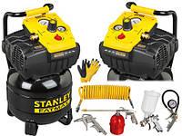 Компрессор безмасляный STANLEY Fatmax FMXCM0021E 24L 10BAR + набор пневмоинструмента + перчатки, фото 1