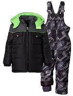 Зимний раздельный серо-черный с салатовым комбинезон iXtreme(США) для мальчика 12мес