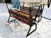 Скамейка №9 со спинкой и поручнем Премиум