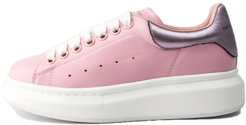 Женские кроссовки Alexander McQueen Leather Pink/Silver (Александр Маккуин) розовые