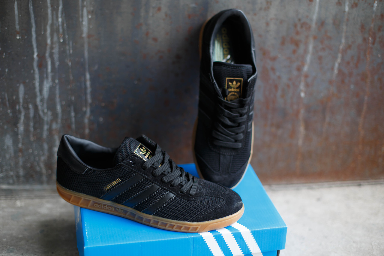 Кроссовки мужские Adidas Hamburg черные.Текстиль-замша