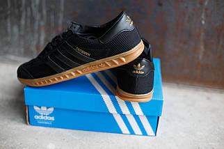 Кроссовки мужские Adidas Hamburg черные.Текстиль-замша, фото 2