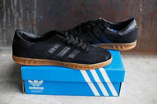 Кроссовки мужские Adidas Hamburg черные.Текстиль-замша , фото 3