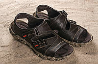 Мужские кожаные коричневые сандали Norman на светлой подошве 10897