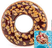 """56262 Круг для плавания  Intex 114см """"Пончик шоколад"""", Надувной круг для бассейна, Пляжный надувной круг"""