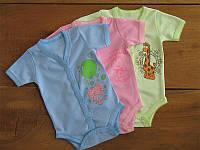 Боди распашной с коротким рукавом для мальчика или девочки рибана однотонная