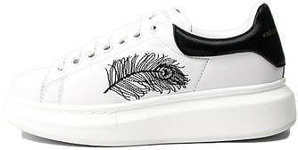 Женские кроссовки Alexander McQueen Leather White/Black (Александр Маккуин) белые