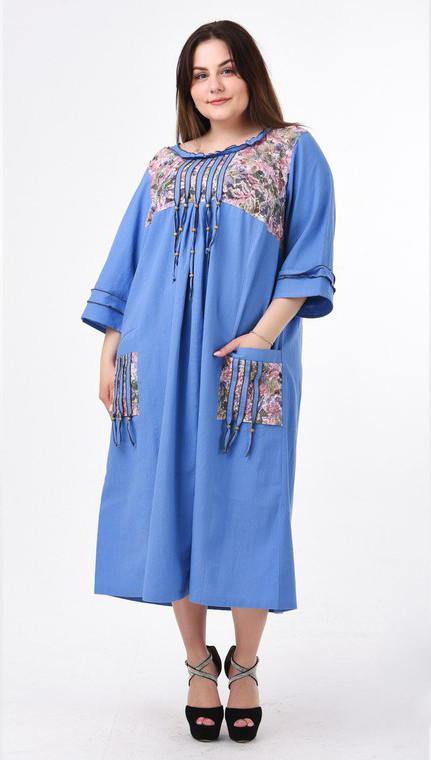 11494001cd4 Летнее льняное платье больших размеров Этно голубое - 730 грн ...