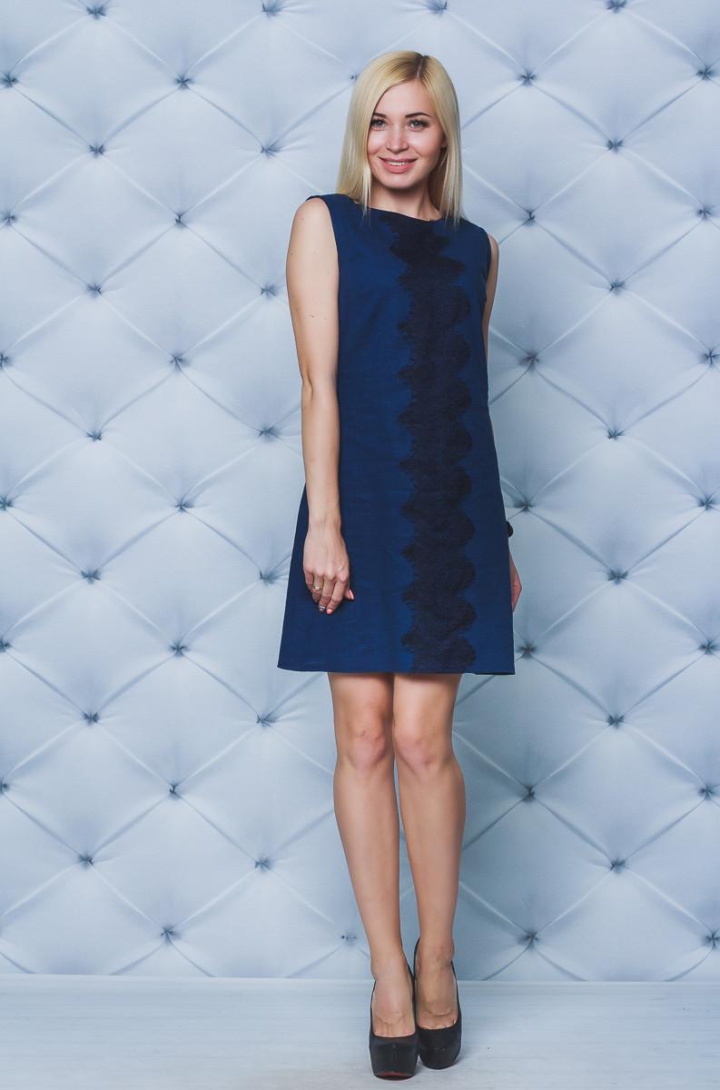 Женское платье с кружевом лен т-синее